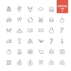 Christmas icons set.Vector illustration.