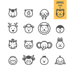 Animal face icons set. Vector illustration.