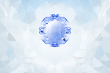 Light background with blue glowing gemstone