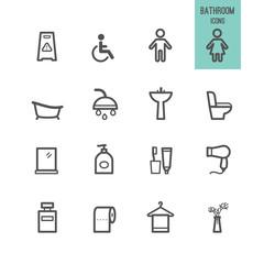 Bathroom icons set. Vector illustration.