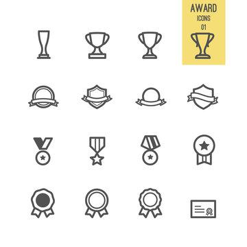 Set of award icons. Vector illustration.