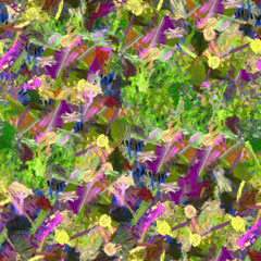 Green lilac abstract seamless pattern oil painting