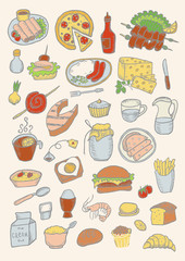 Food hand drawn color set