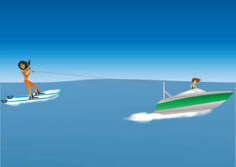 Cartoon Woman Waterskiing