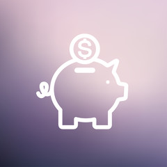 Piggy bank and dollar coin thin line icon