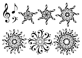 abstract music flowers, vector set