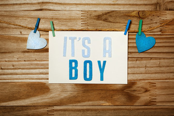 ITS A BOY card hanging with clothespins