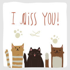 Сartoon flat I Miss You postcard with funny cats.