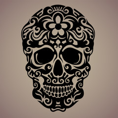 Ornamental art of a skull