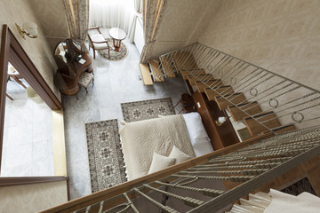 stairs in duplex luxury bedroom apartment