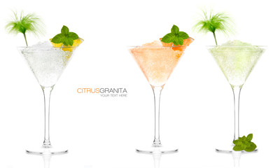 Set of Citrus Fruit Granitas in Cocktail Glasses