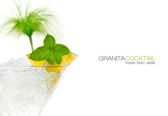 Closeup Granita Cocktail in Martini Glass. Template Design