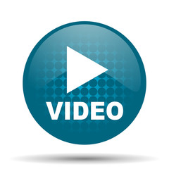 video blue glossy web icon