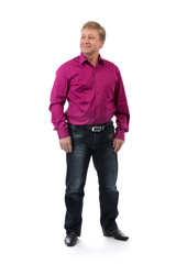 male 40 years on a white background in a purple shirt