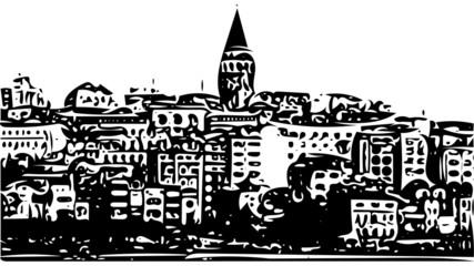 Galata Tower cityscape sketch illustration Istanbul, Turkey