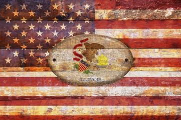 Wooden flag of Illinois.