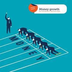 Businessmen runners on a money athletics track