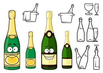 Champagne bottles cartoon characters and icons