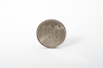 白背景に100円硬貨