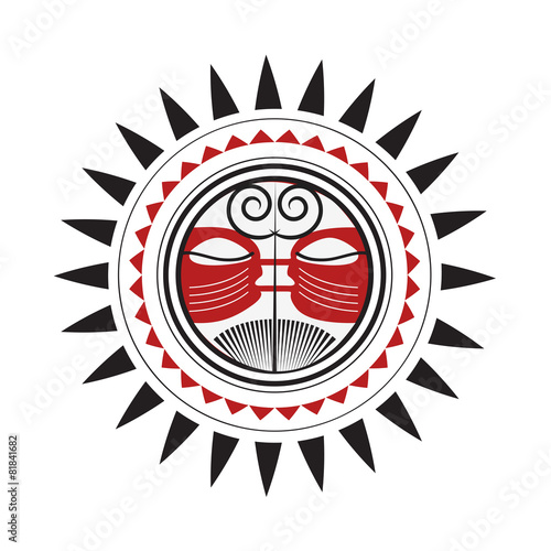 Maori Sun God With Red Stock Image And Royalty Free Vector Files On - Soles-maories