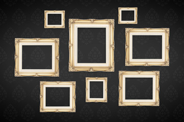 Vintage photo frames with Thai pattern at black background,Templ