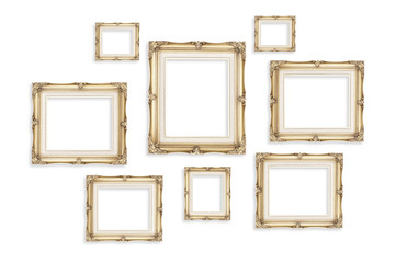 Vintage photo frames isolated on white background,Template mock