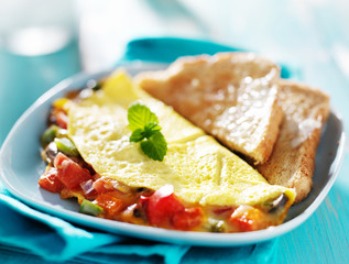 breakfast omelette with buttered toast