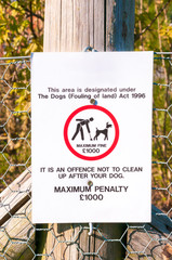 warning sign no dog fouling close up