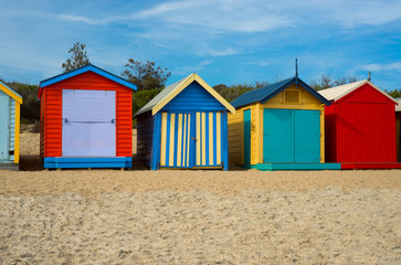 Colorful beach houses in Melbourne, Australia.