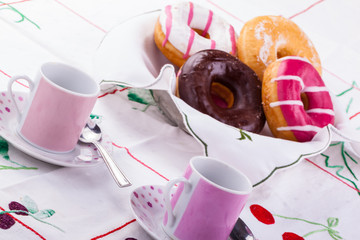 Breakfast with donuts