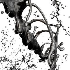 Splash of black fuel oil isolated on white background