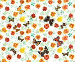 Marigolds and butterflies seamless.