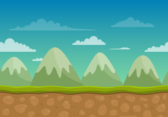 Vector Unending Landscape Background with Mountains