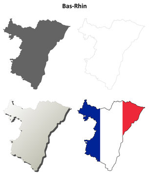 Bas-Rhin (Alsace) outline map set