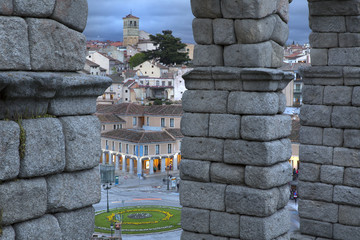 View of main square and roman aqueduct Segovia Spain