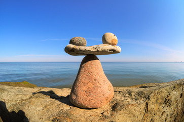 Stones in balance on the boulder