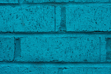 Close up of turquoise brick wall