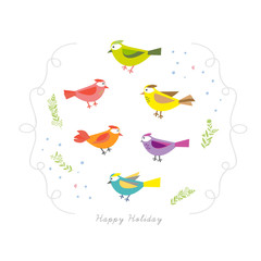 Cartoon Birds and floral element Holiday card template
