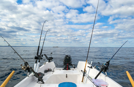Salmon Baltic sea fishing from small boat