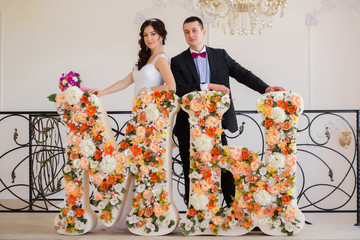 Just married with big letters in colors