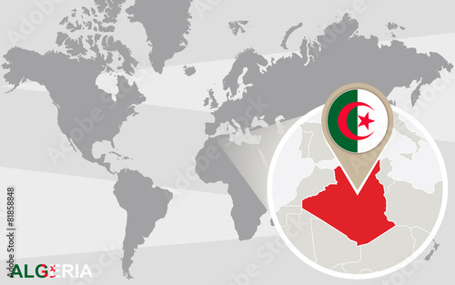 Algeria Location On World Map.World Map With Magnified Algeria Stock Image And Royalty Free