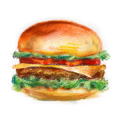 hamburger, burger on a white background. fast food
