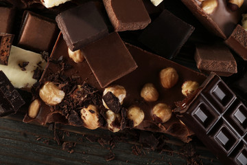 Set of chocolate with hazelnut, closeup