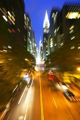 Traffic at night on 42nd street, New York city