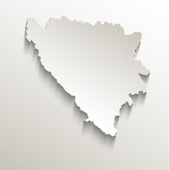 Bosnia and Herzegovina map card paper 3D natural vector