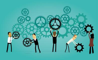 Cartoon Business Teamwork Concept