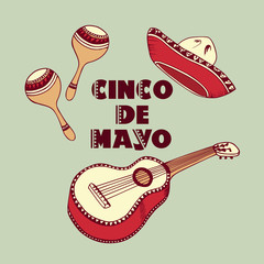 Cinco De Mayo background. Sombrero, guitar, maracas in vector