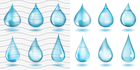 Transparent and opaque blue water drops
