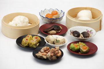 Group of stream Dim Sum chinese food