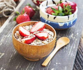 Breakfast with Muesli and Strawberry Fruits